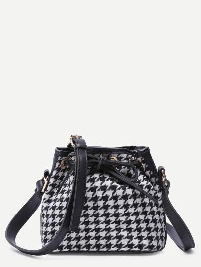 White and Black PU Trim Plover Case Plaid Drawstring Bucket Bag