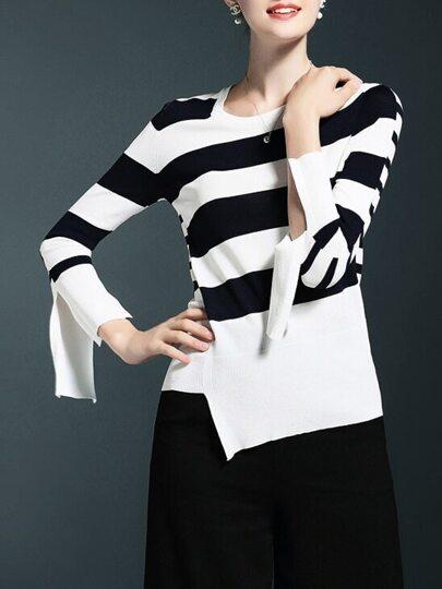 Black White Striped Split Sleeve Sweater