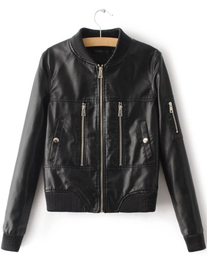 Black Zipper Detail Ribbed Trim PU Jacket