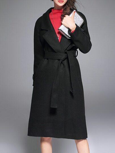 Abrigo con solapa y lazo en la cintura - negro