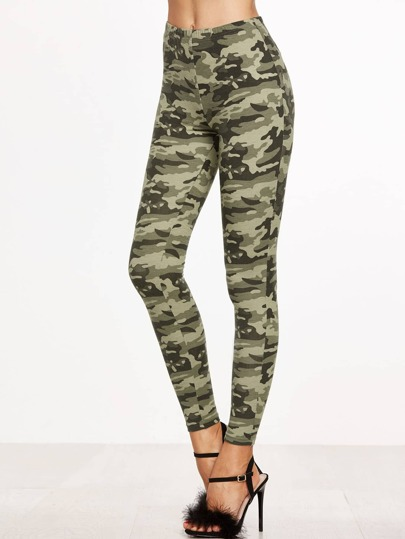 Olive Green Camo Print Leggings