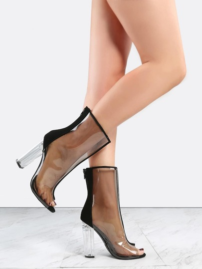 High Shaft Transparent Boots BLACK