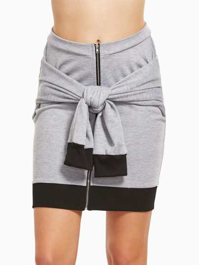 Heather Grey Contrast Trim Zip Up Tie Front Two Way Skirt