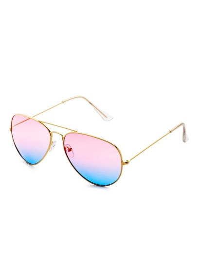 Pink and Blue Ombre Matel Frame Double Bridge Sunglass