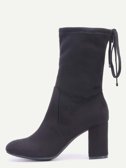 Black High Heels Tie Back Short Boots