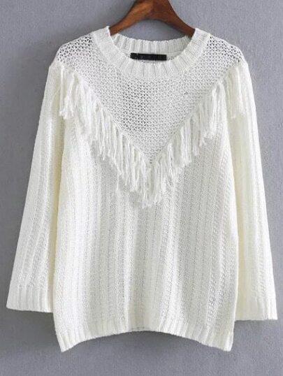 Maglione Con Frangia Scollo Rotondo - Bianco