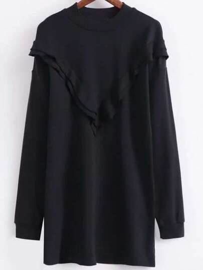 Black Crew Neck Long Sleeve Sweatshirt Dress