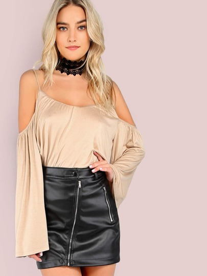 Bell Sleeve Cold Shoulder Top APRICOT