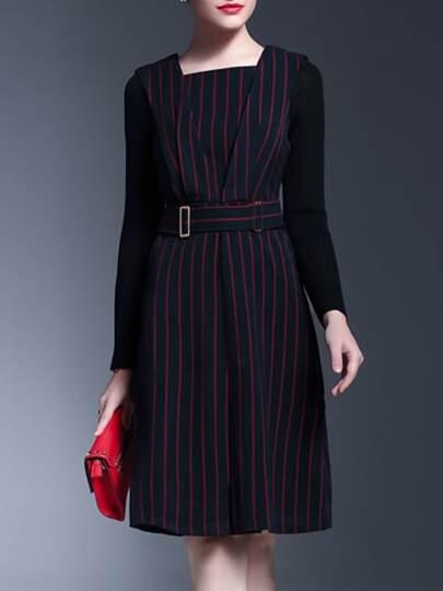 Black Belted Striped Shift Dress