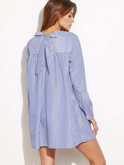 Blue Striped Tie Back Shift Shirt Dress