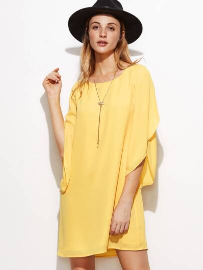 Yellow Tulip Sleeve Shift Dress