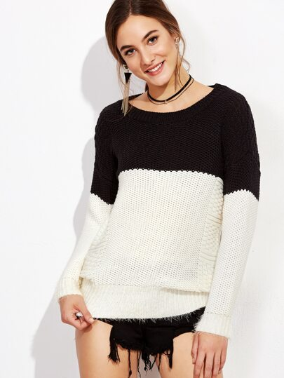 Contrast Mixed Knit Drop Shoulder Sweater