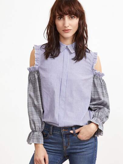 Blue Striped Ruffle Open Shoulder Contrast Plaid Sleeve Blouse