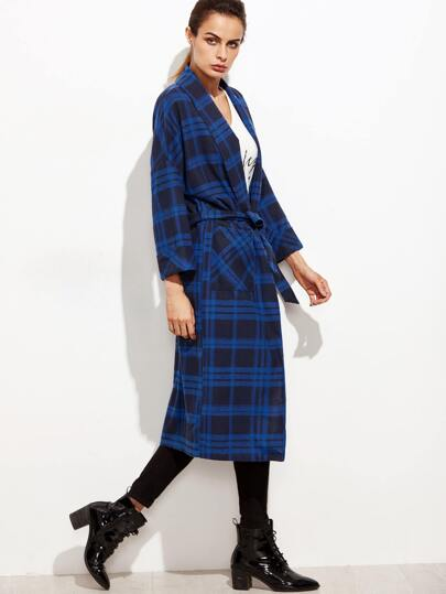 Blue Plaid Shawl Collar Pocket Front Wrap Coat