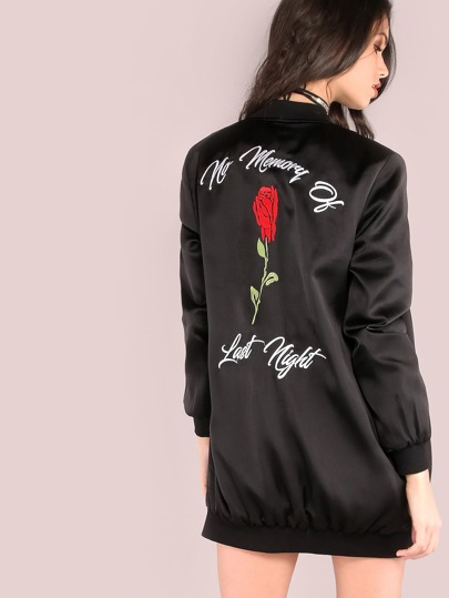 Black Rose Embroidered Back Silky Bomber Jacket