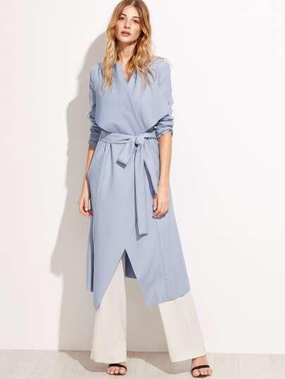 Blue Waterfall Collar Wrap Duster Coat