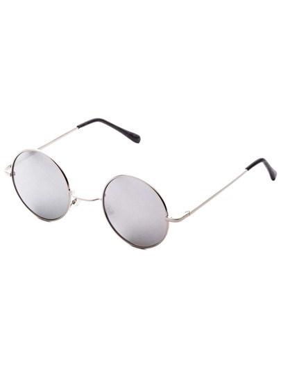 Silver Frame Round Lens Retro Style Sunglasses