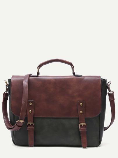 Bolso satchel de PU con hebillas