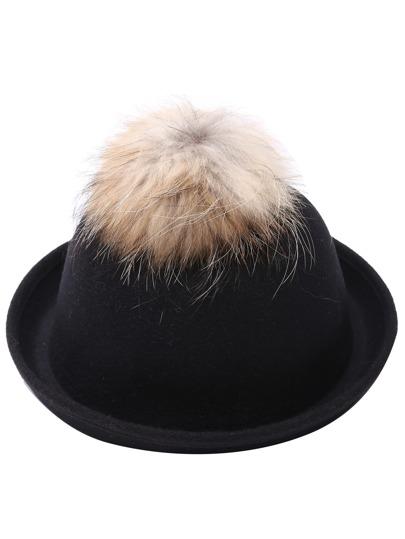 Cappello Di Bombetta Pom Pom - Nero
