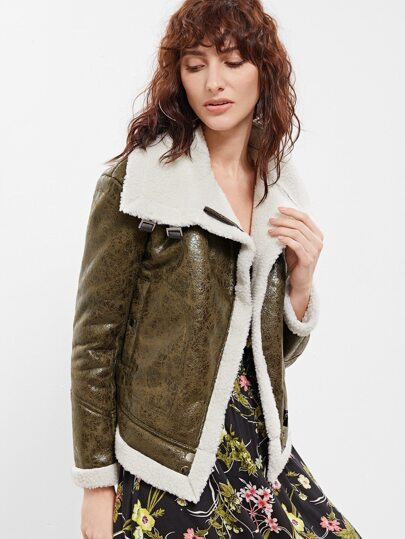 Olive Green Faux Shearling Asymmetric Zip Jacket