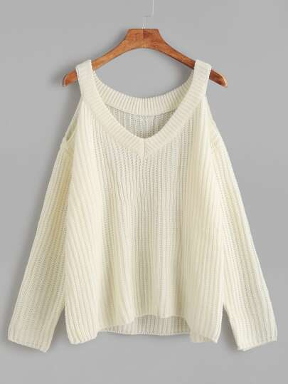 Beige V Neck Open Shoulder Sweater