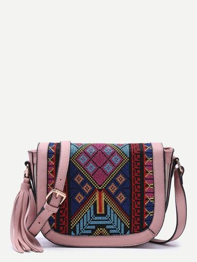 Bolso de hombro con estampado tribual y flecos - rosa