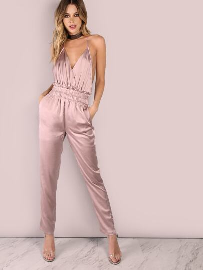 Low Back Cross Back Satin Jumpsuit DUSTY PINK