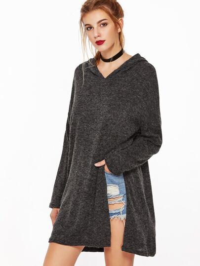 Camiseta con capucha ribete con abertura - gris oscuro
