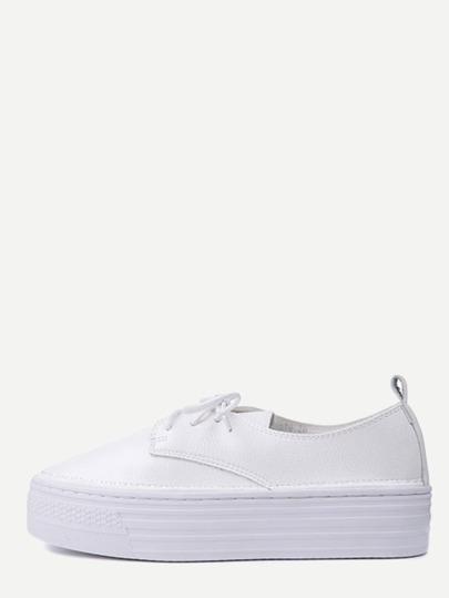 White Lace Up PU Rubber Sole Flatform Shoes
