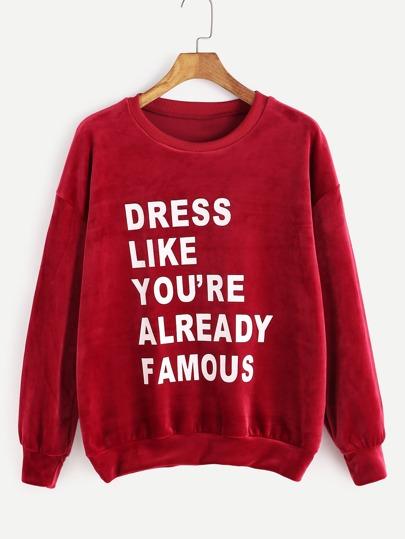 Burgundy Drop Shoulder Slogan Print Velvet Sweatshirt