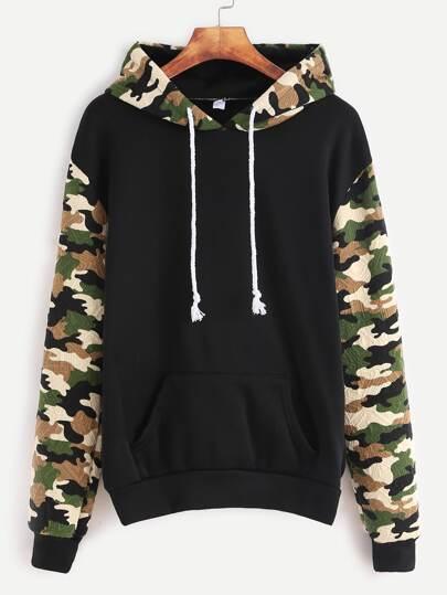 Black Contrast Sleeve Hooded Sweatshirt