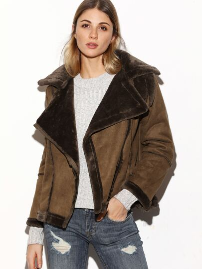 Khaki Oblique Zipper Sheepskin Suede Jacket