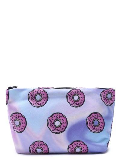 Pink Doughnut Print Shiny Portable Cosmetic Makeup Bag