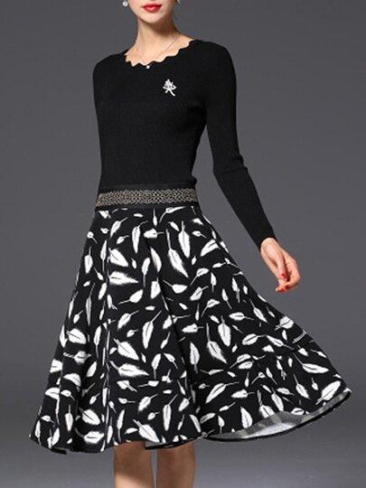 Vestido línea A de punto con estampado de hojas - negro