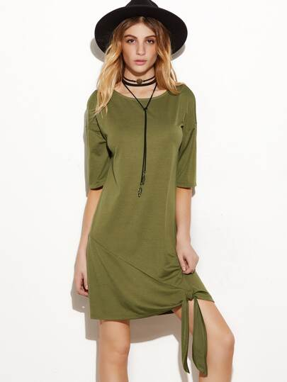 Olive Green Drop Shoulder Half Sleeve Knot Hem Tee Dress