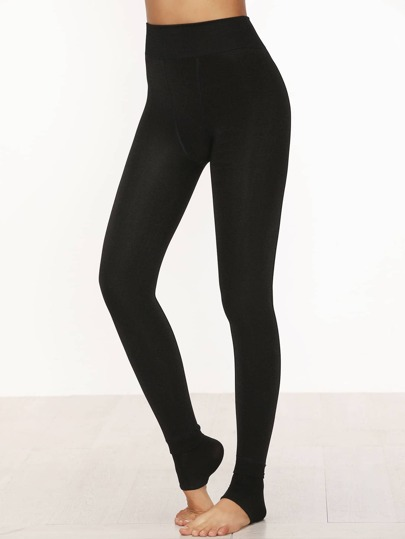 Black Elastic Heel Covered Leggings