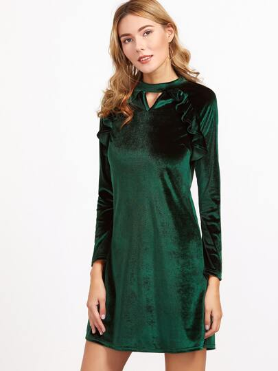 Green Double Keyhole Ruffle Trim Velvet Dress