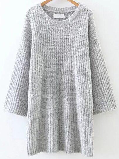 Vestido de punto con cuello redondo y hombro caído - gris claro
