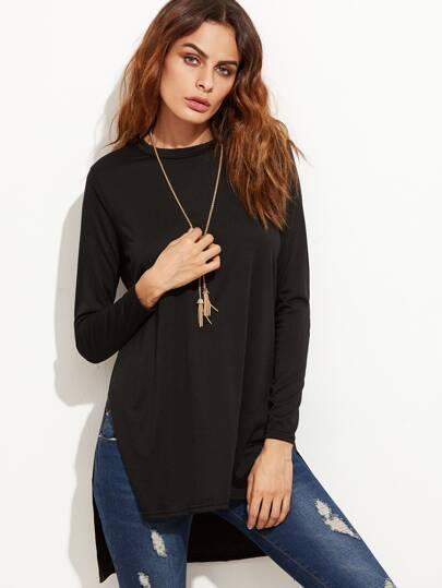 T-shirt col rond manche longue - noir