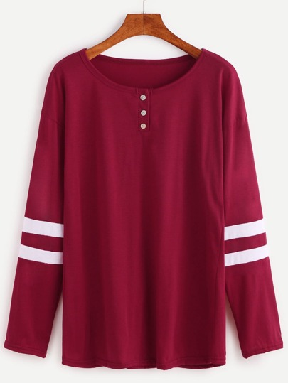Burgundy Varsity Striped Button T-shirt
