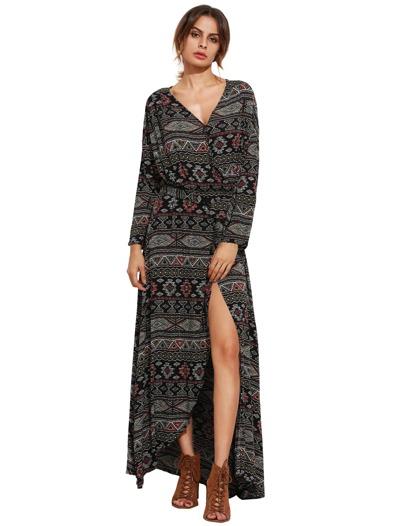 Tie Waist Floor Length Wrap Dress