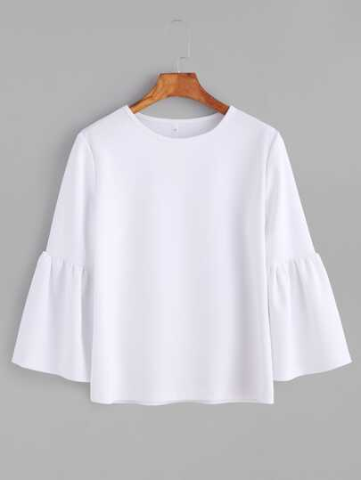 White Round Neck Bell Sleeve T-shirt