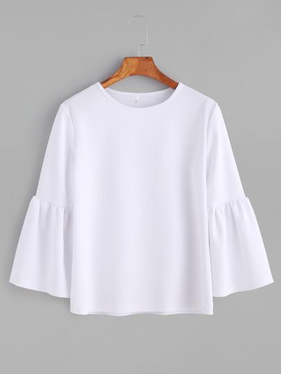 T-shirt col rond manche cloche - blanc