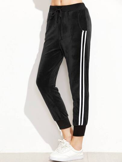 Black Ribbed Trim Striped Side Velvet Pants