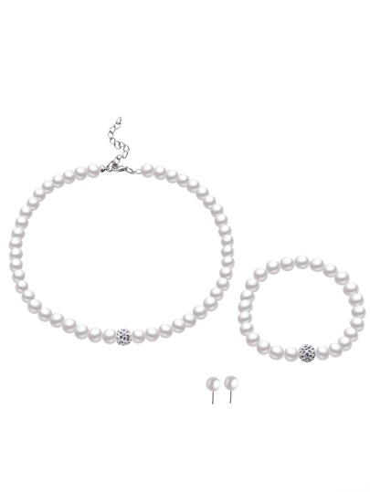Faux Pearl Beaded Rhinestone Elegant Jewelry Set