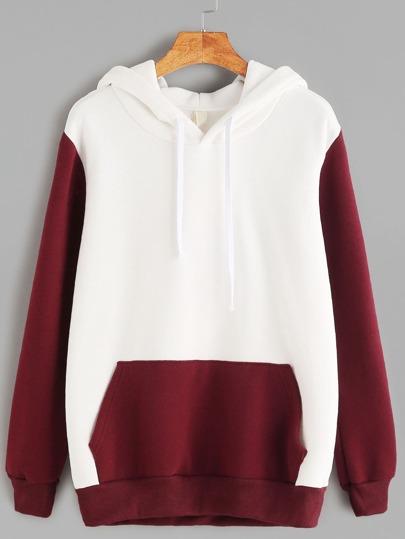 Color Block Hooded Pocket Sweatshirt