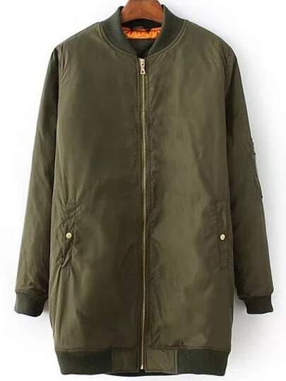 Army Green Zipper Detail Long Jacket