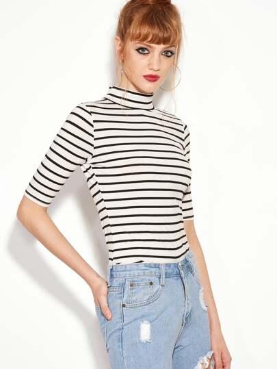 T-shirt slim à rayures col montant - noir blanc