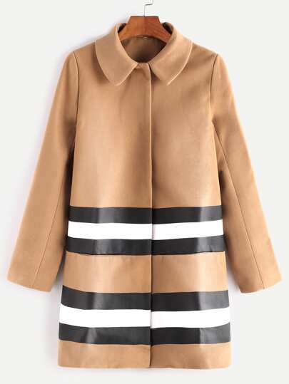 Camel Hidden Button Striped Mixed Media Coat