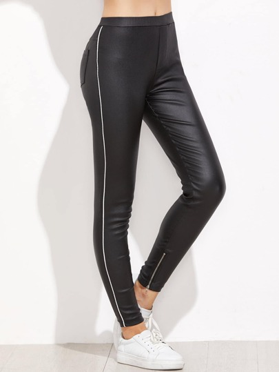 Black Side Piping Zip Hem Coated Leggings